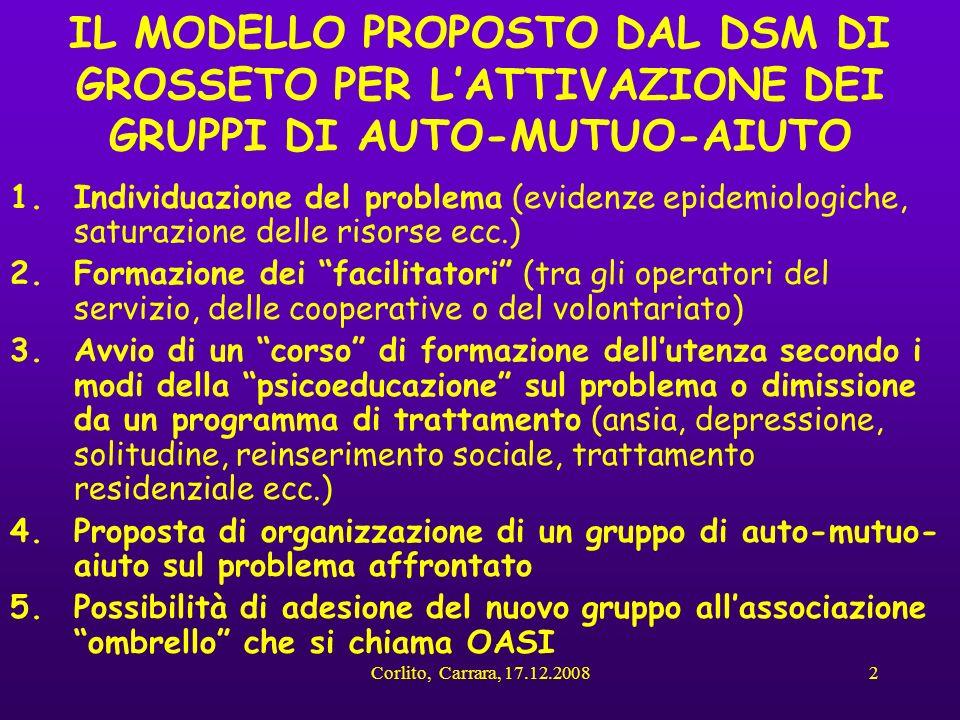Corlito, Carrara, 17.12.20082 IL MODELLO PROPOSTO DAL DSM DI GROSSETO PER LATTIVAZIONE DEI GRUPPI DI AUTO-MUTUO-AIUTO 1.Individuazione del problema (e