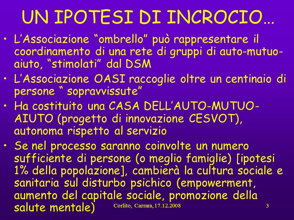 Corlito, Carrara, 17.12.20083 UN IPOTESI DI INCROCIO… LAssociazione ombrello può rappresentare il coordinamento di una rete di gruppi di auto-mutuo- a