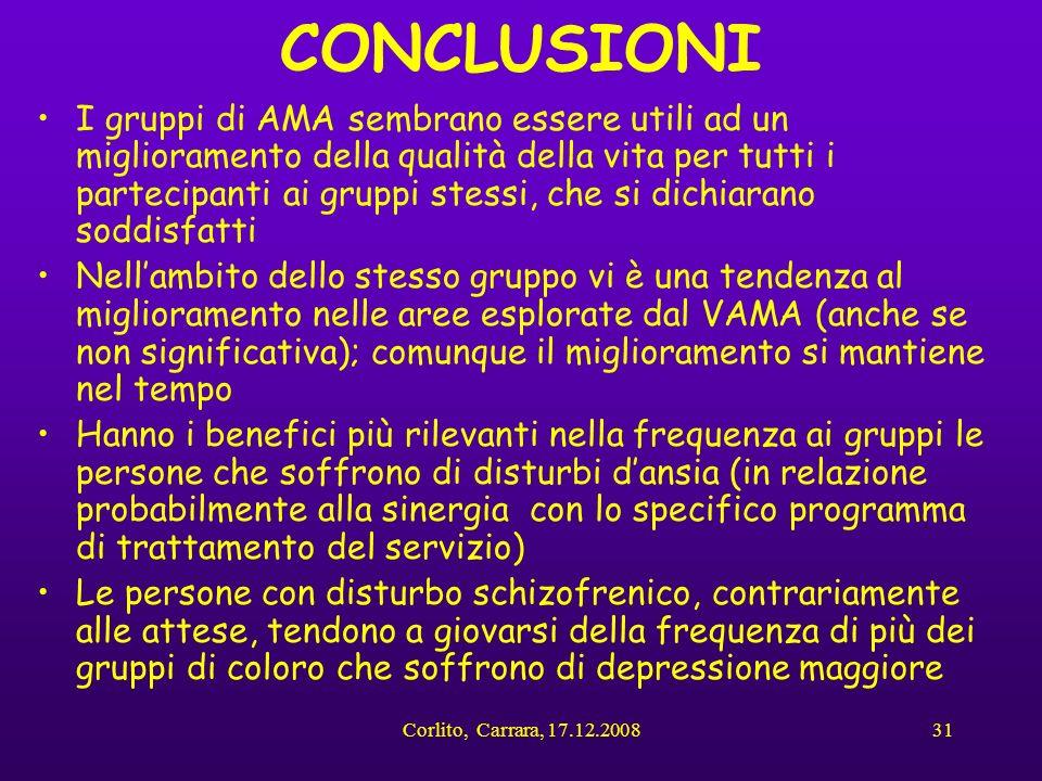 Corlito, Carrara, 17.12.200831 CONCLUSIONI I gruppi di AMA sembrano essere utili ad un miglioramento della qualità della vita per tutti i partecipanti