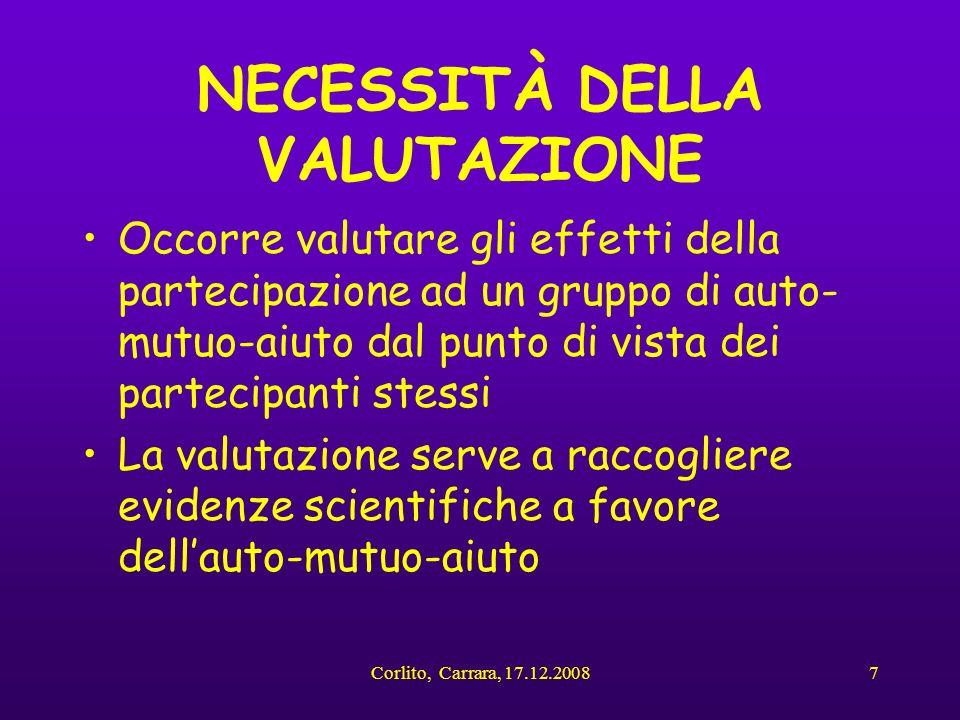 Corlito, Carrara, 17.12.20087 NECESSITÀ DELLA VALUTAZIONE Occorre valutare gli effetti della partecipazione ad un gruppo di auto- mutuo-aiuto dal punt