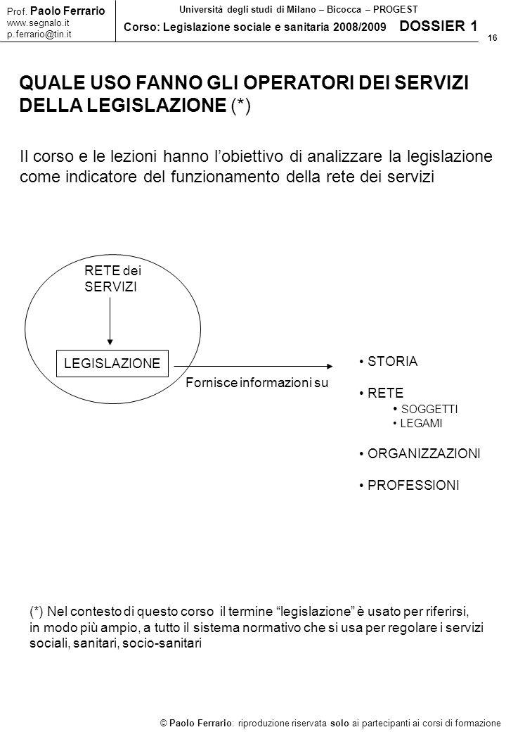 16 © Paolo Ferrario: riproduzione riservata solo ai partecipanti ai corsi di formazione Prof.