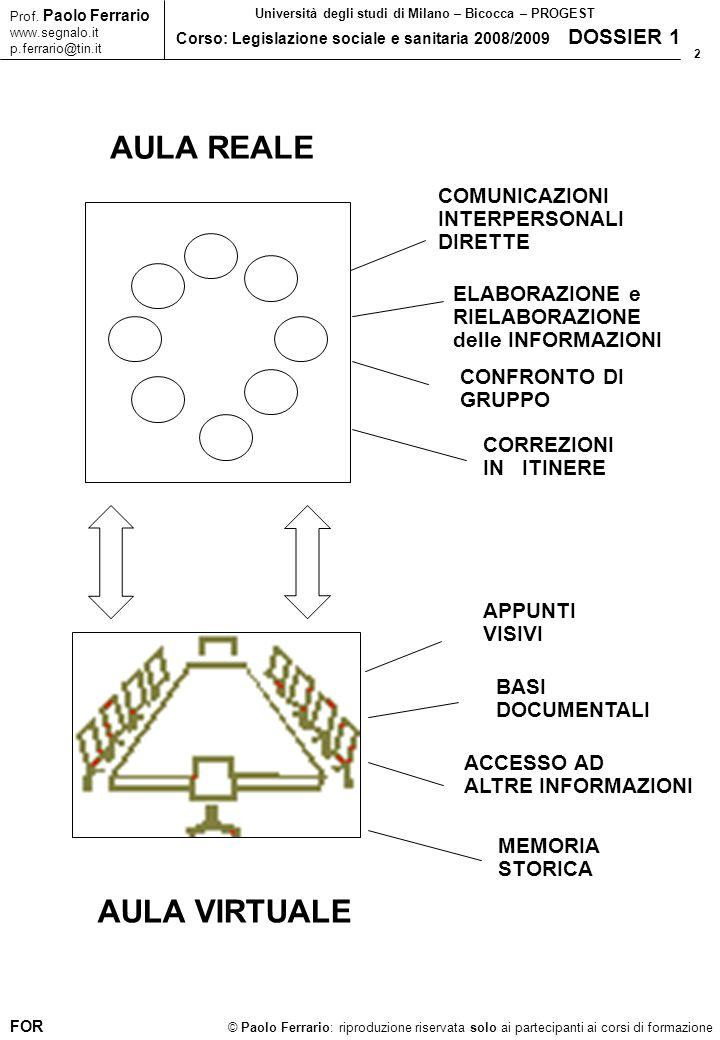 33 © Paolo Ferrario: riproduzione riservata solo ai partecipanti ai corsi di formazione Prof.