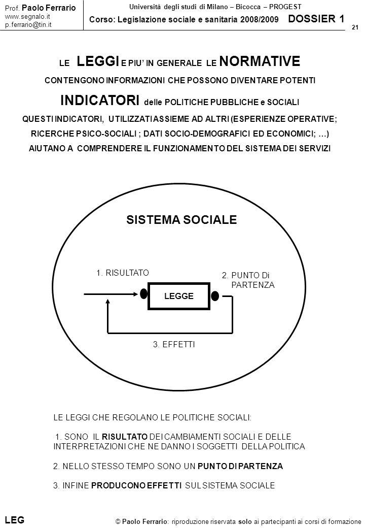 21 © Paolo Ferrario: riproduzione riservata solo ai partecipanti ai corsi di formazione Prof. Paolo Ferrario www.segnalo.it p.ferrario@tin.it Universi