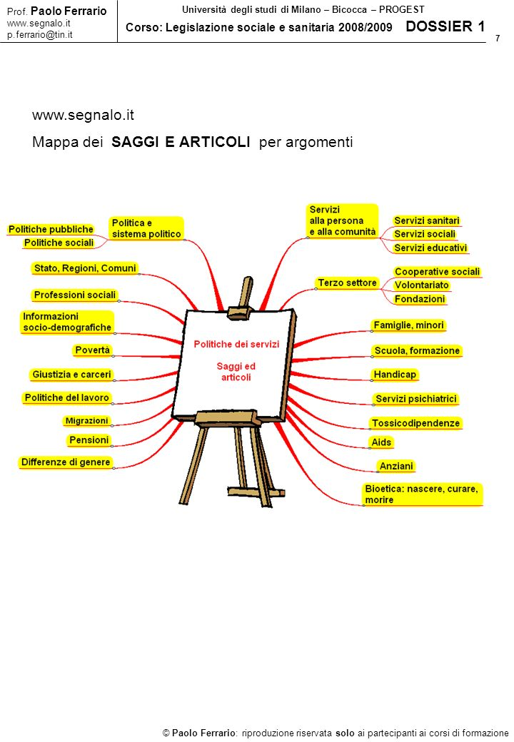 7 © Paolo Ferrario: riproduzione riservata solo ai partecipanti ai corsi di formazione Prof. Paolo Ferrario www.segnalo.it p.ferrario@tin.it Universit