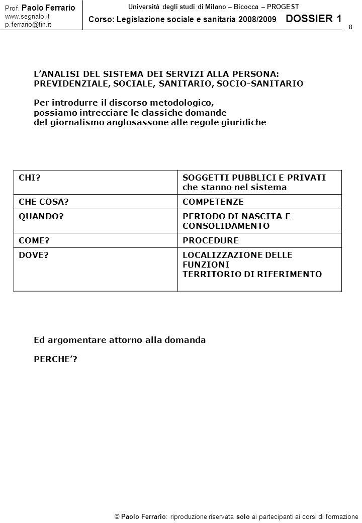 29 © Paolo Ferrario: riproduzione riservata solo ai partecipanti ai corsi di formazione Prof.