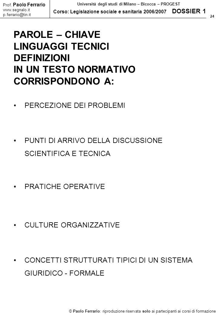 24 © Paolo Ferrario: riproduzione riservata solo ai partecipanti ai corsi di formazione Prof.