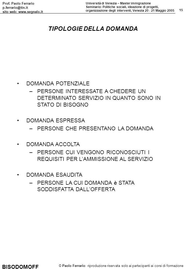 Prof. Paolo Ferrario p.ferrario@tin.it sito web: www.segnalo.it 15 Università di Venezia – Master immigrazione Seminario: Politiche sociali, ideazione