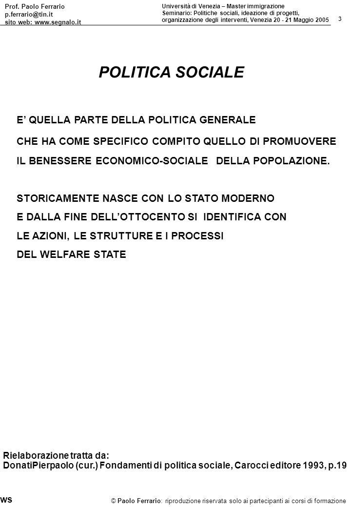 Prof. Paolo Ferrario p.ferrario@tin.it sito web: www.segnalo.it 3 Università di Venezia – Master immigrazione Seminario: Politiche sociali, ideazione