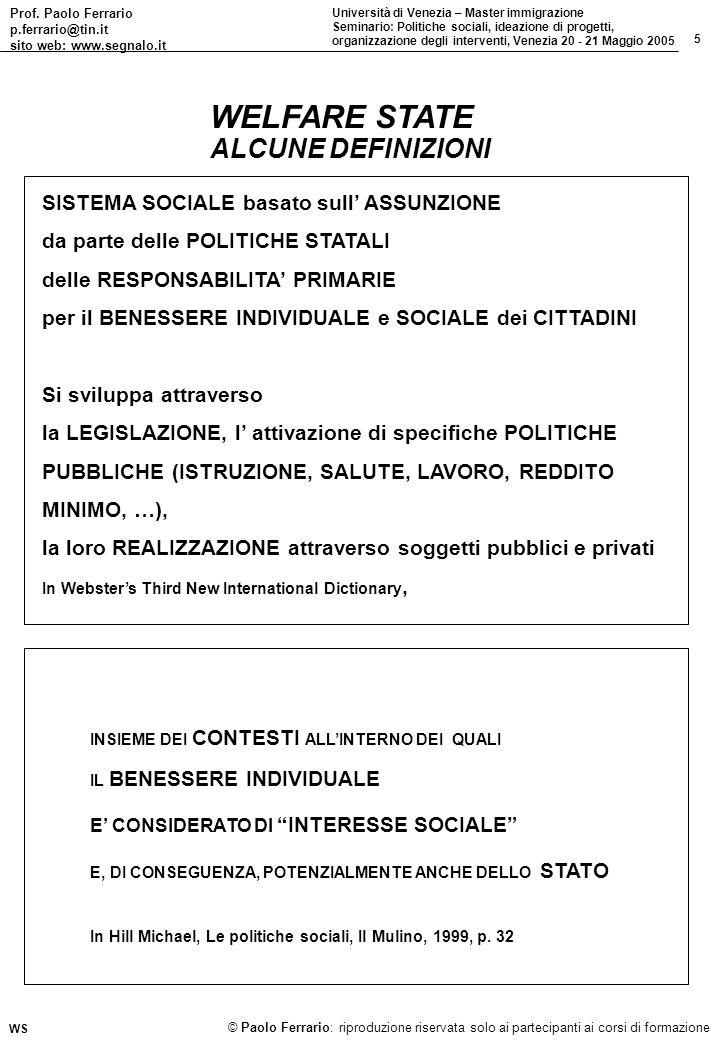 Prof. Paolo Ferrario p.ferrario@tin.it sito web: www.segnalo.it 5 Università di Venezia – Master immigrazione Seminario: Politiche sociali, ideazione