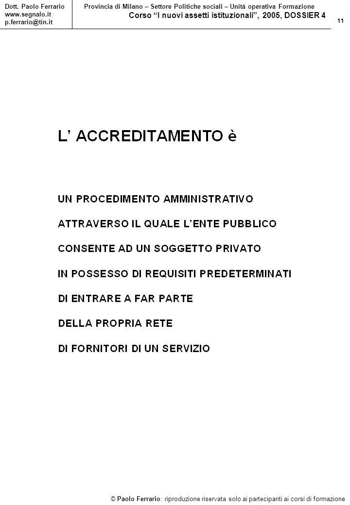 11 © Paolo Ferrario: riproduzione riservata solo ai partecipanti ai corsi di formazione Dott.