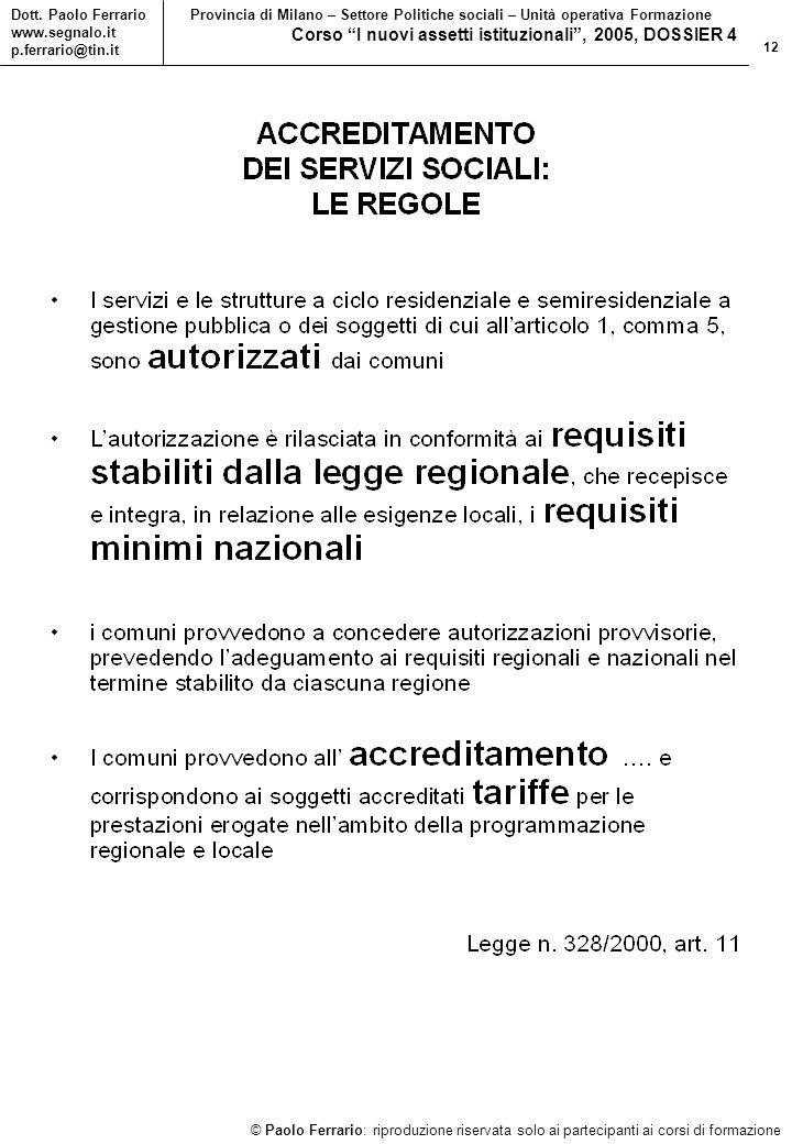 12 © Paolo Ferrario: riproduzione riservata solo ai partecipanti ai corsi di formazione Dott.