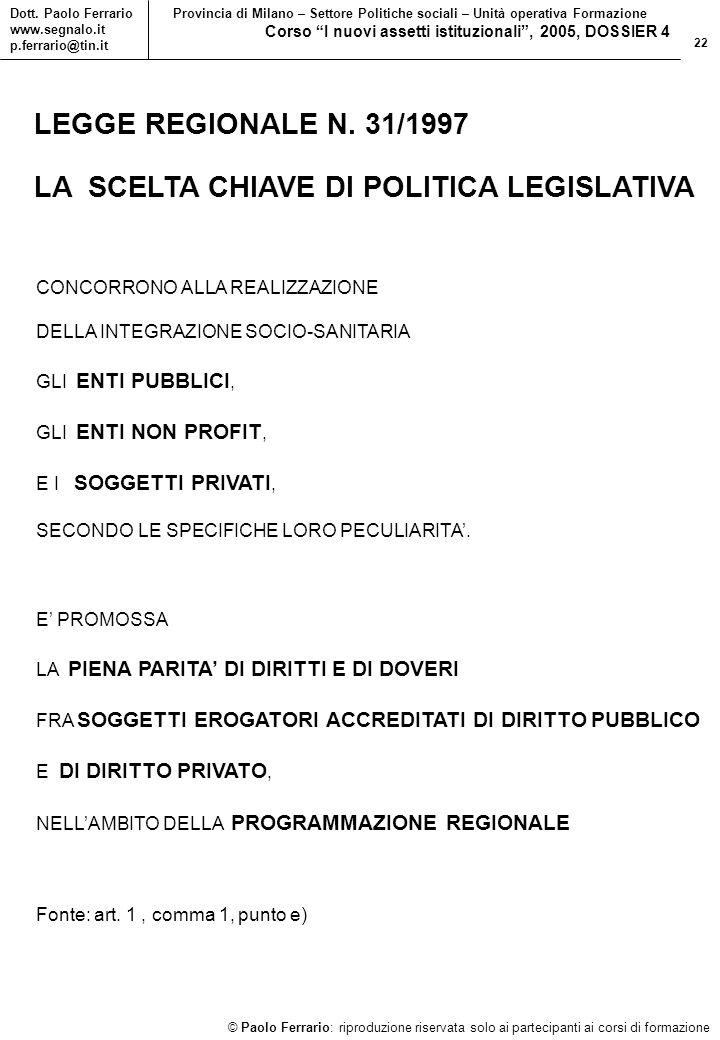 22 © Paolo Ferrario: riproduzione riservata solo ai partecipanti ai corsi di formazione Dott.