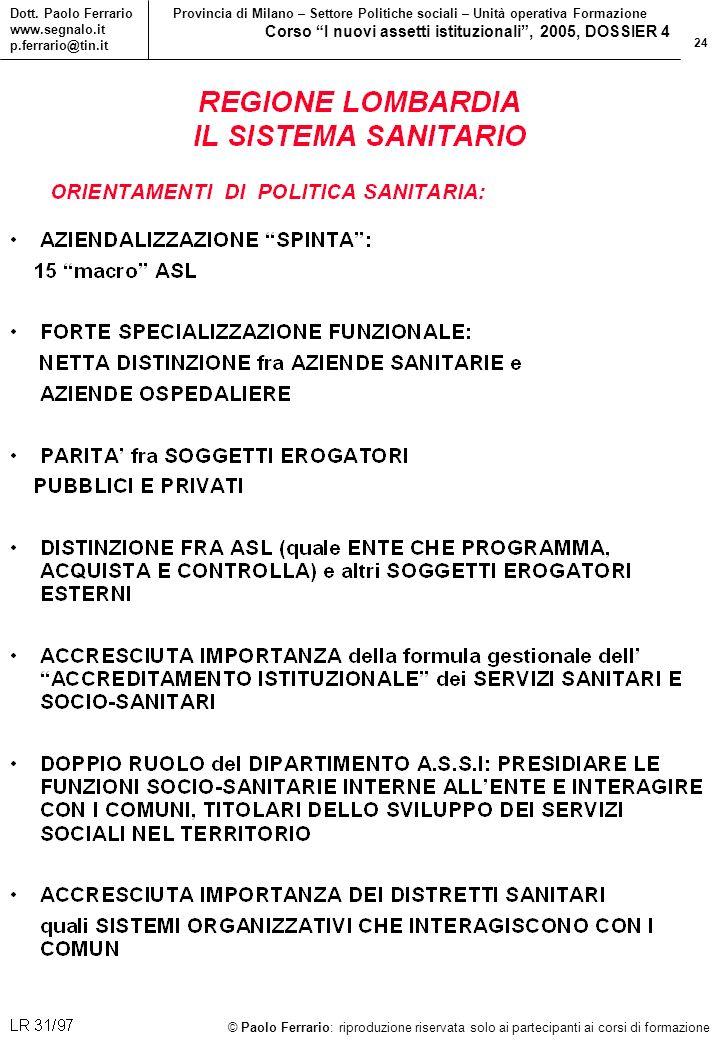 24 © Paolo Ferrario: riproduzione riservata solo ai partecipanti ai corsi di formazione Dott.