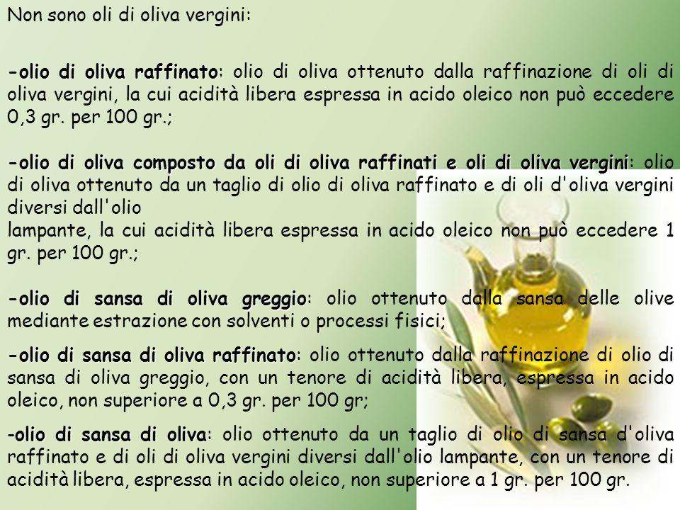 Non sono oli di oliva vergini: olio di oliva raffinato -olio di oliva raffinato: olio di oliva ottenuto dalla raffinazione di oli di oliva vergini, la
