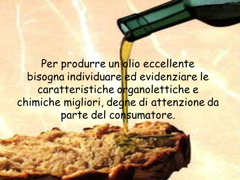 Per produrre un olio eccellente bisogna individuare ed evidenziare le caratteristiche organolettiche e chimiche migliori, degne di attenzione da parte