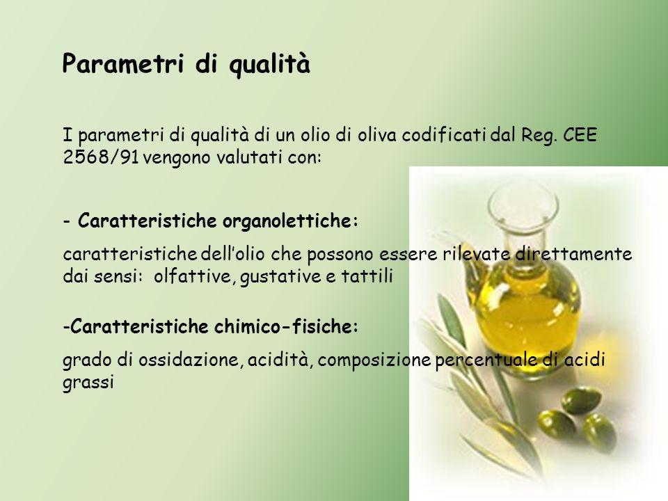 Parametri di qualità I parametri di qualità di un olio di oliva codificati dal Reg. CEE 2568/91 vengono valutati con: - Caratteristiche organolettiche