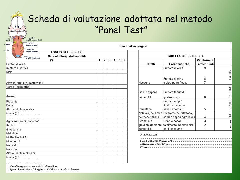 Scheda di valutazione adottata nel metodo Panel Test