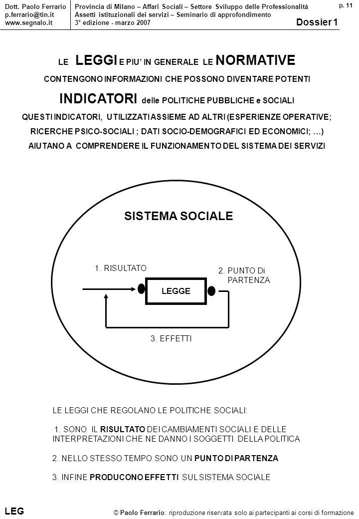 p. 11 © Paolo Ferrario: riproduzione riservata solo ai partecipanti ai corsi di formazione Dott. Paolo Ferrario p.ferrario@tin.it www.segnalo.it Provi