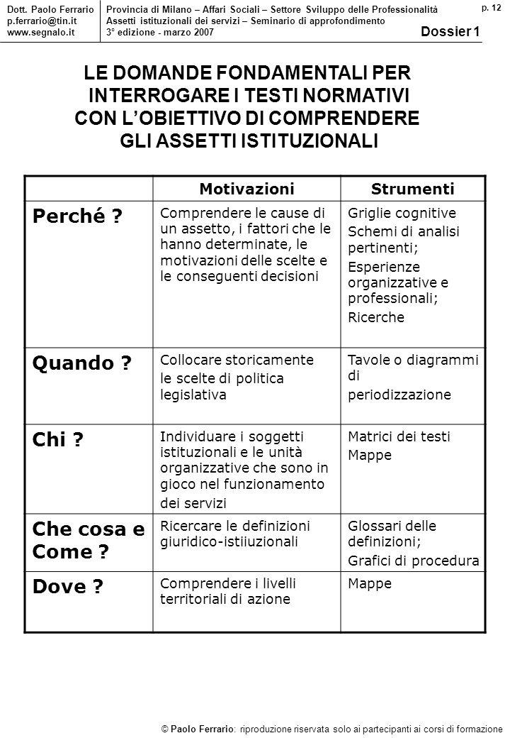 p. 12 © Paolo Ferrario: riproduzione riservata solo ai partecipanti ai corsi di formazione Dott. Paolo Ferrario p.ferrario@tin.it www.segnalo.it Provi