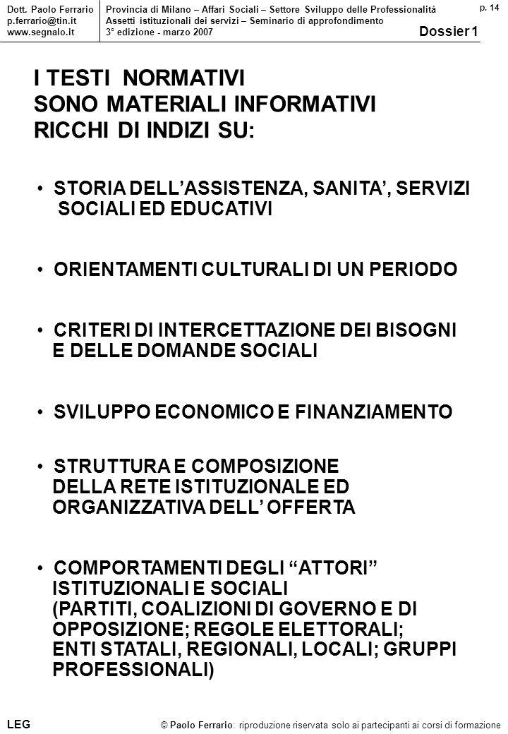 p. 14 © Paolo Ferrario: riproduzione riservata solo ai partecipanti ai corsi di formazione Dott. Paolo Ferrario p.ferrario@tin.it www.segnalo.it Provi