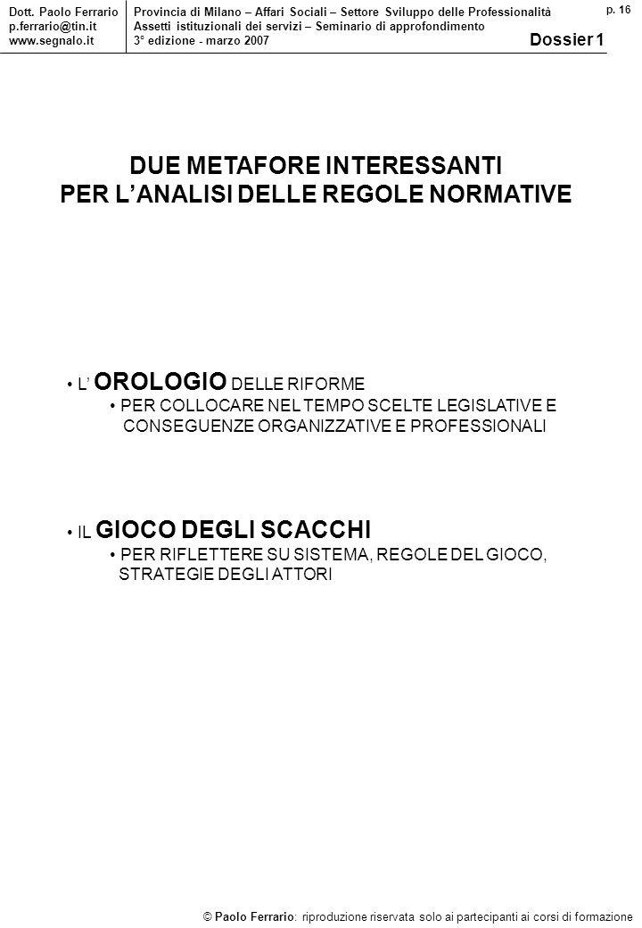 p. 16 © Paolo Ferrario: riproduzione riservata solo ai partecipanti ai corsi di formazione Dott. Paolo Ferrario p.ferrario@tin.it www.segnalo.it Provi