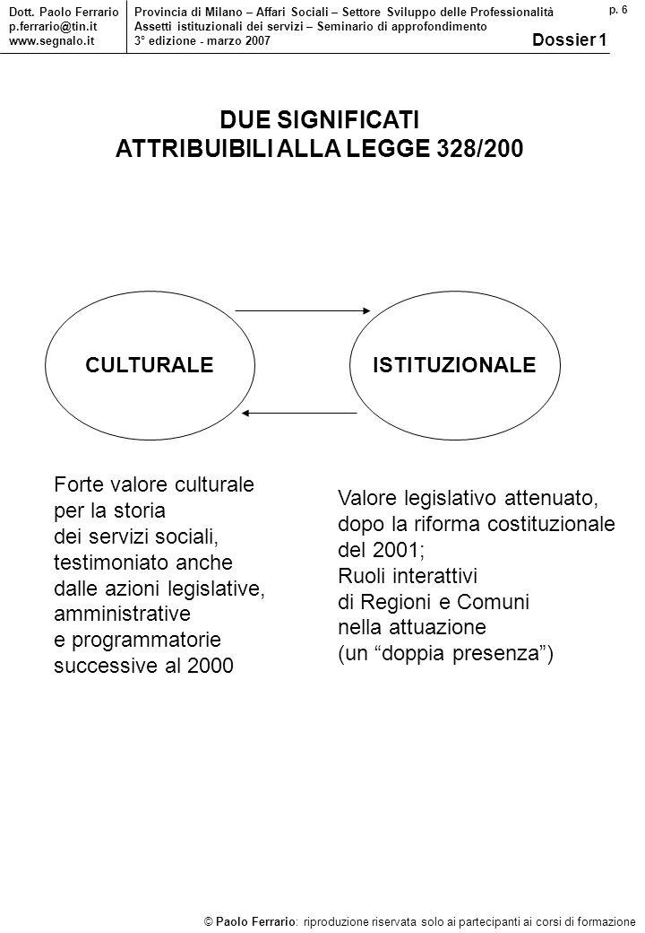 p. 6 © Paolo Ferrario: riproduzione riservata solo ai partecipanti ai corsi di formazione Dott. Paolo Ferrario p.ferrario@tin.it www.segnalo.it Provin