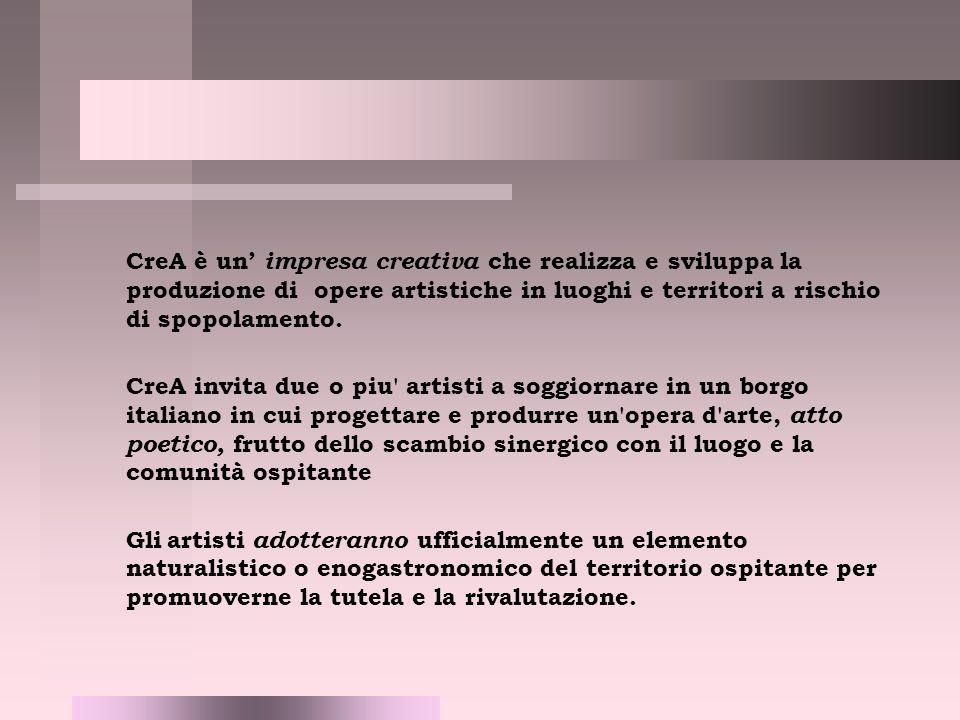 CreA è un impresa creativa che realizza e sviluppa la produzione di opere artistiche in luoghi e territori a rischio di spopolamento.