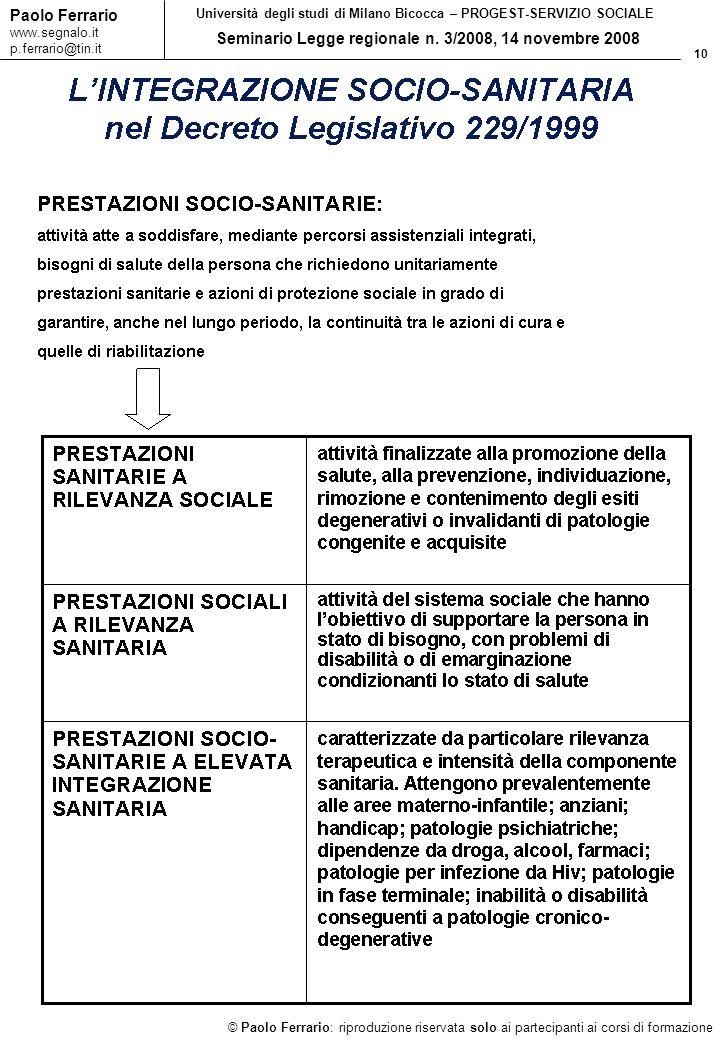 10 © Paolo Ferrario: riproduzione riservata solo ai partecipanti ai corsi di formazione Paolo Ferrario www.segnalo.it p.ferrario@tin.it Università deg