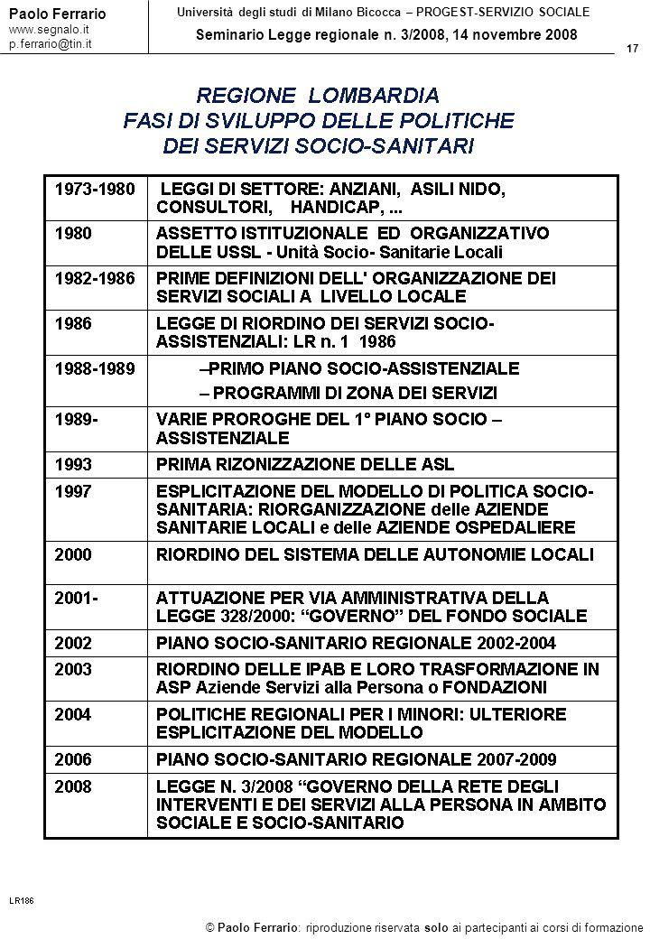 17 © Paolo Ferrario: riproduzione riservata solo ai partecipanti ai corsi di formazione Paolo Ferrario www.segnalo.it p.ferrario@tin.it Università degli studi di Milano Bicocca – PROGEST-SERVIZIO SOCIALE Seminario Legge regionale n.
