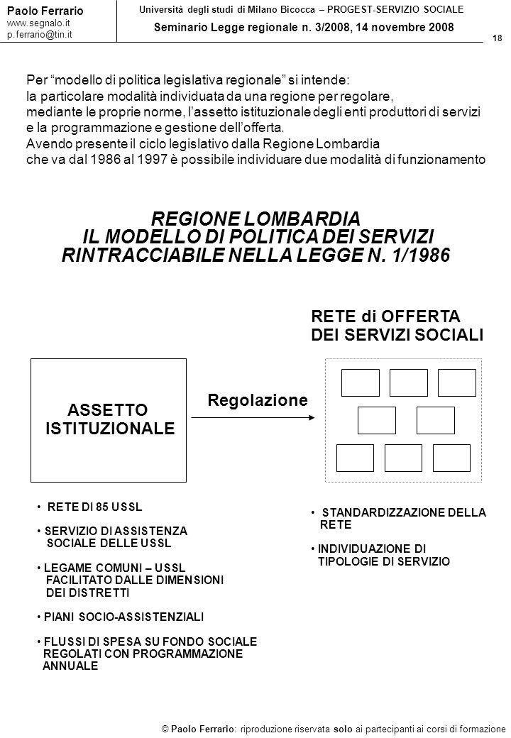 18 © Paolo Ferrario: riproduzione riservata solo ai partecipanti ai corsi di formazione Paolo Ferrario www.segnalo.it p.ferrario@tin.it Università deg