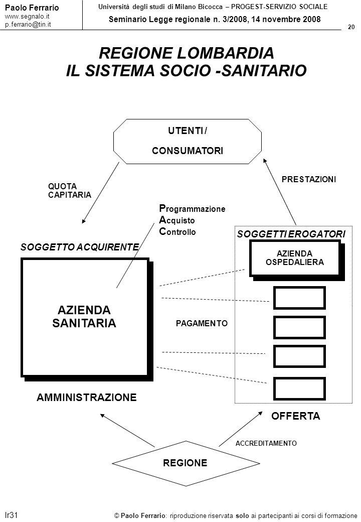 20 © Paolo Ferrario: riproduzione riservata solo ai partecipanti ai corsi di formazione Paolo Ferrario www.segnalo.it p.ferrario@tin.it Università deg