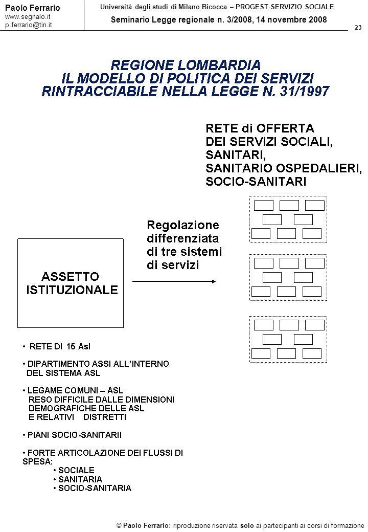 23 © Paolo Ferrario: riproduzione riservata solo ai partecipanti ai corsi di formazione Paolo Ferrario www.segnalo.it p.ferrario@tin.it Università deg