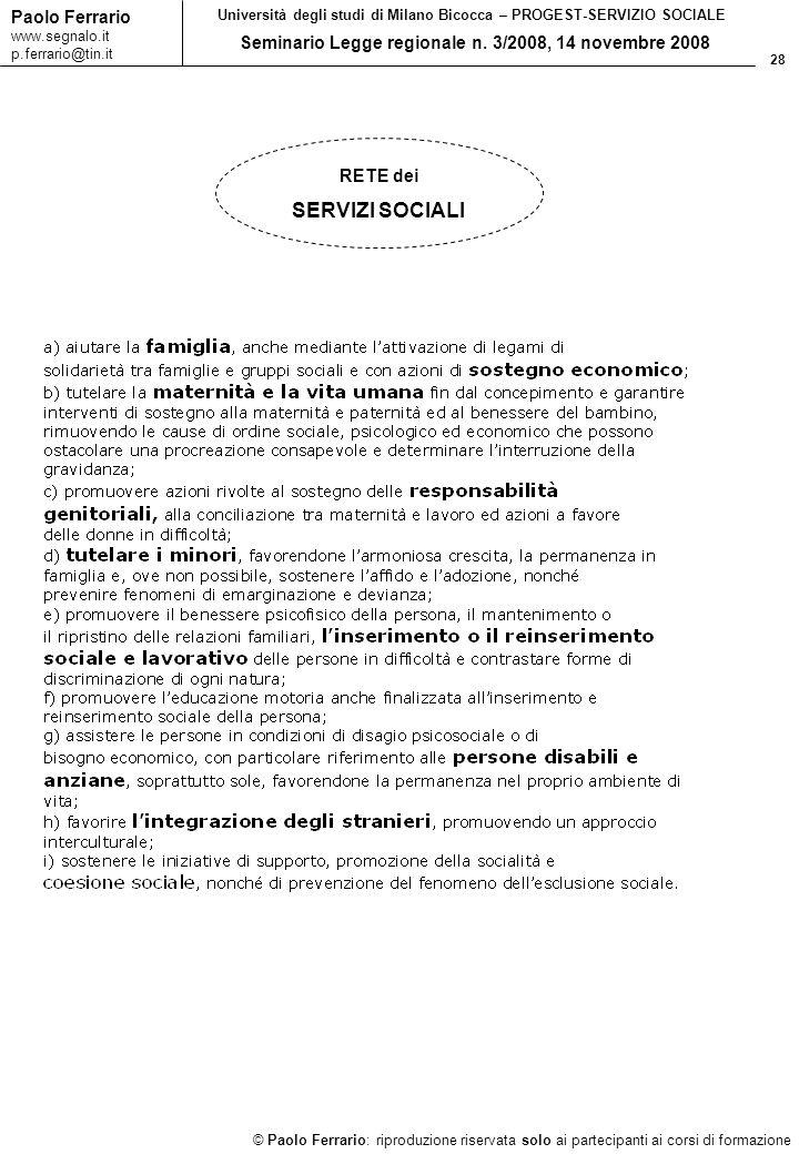 28 © Paolo Ferrario: riproduzione riservata solo ai partecipanti ai corsi di formazione Paolo Ferrario www.segnalo.it p.ferrario@tin.it Università deg