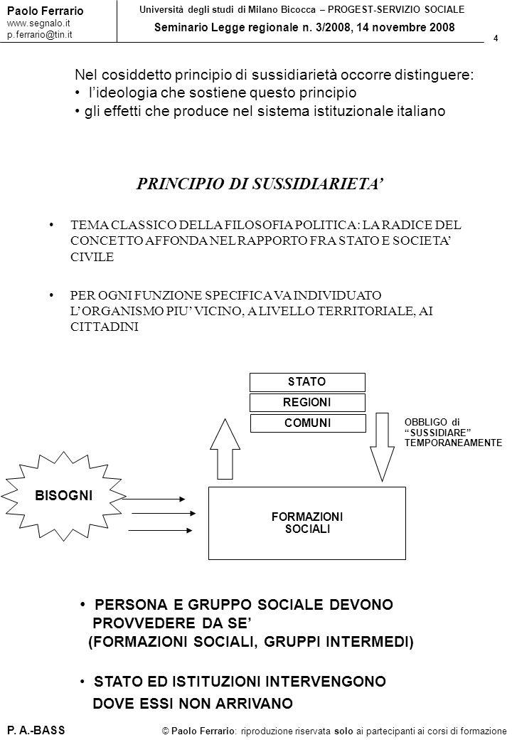 4 © Paolo Ferrario: riproduzione riservata solo ai partecipanti ai corsi di formazione Paolo Ferrario www.segnalo.it p.ferrario@tin.it Università degl