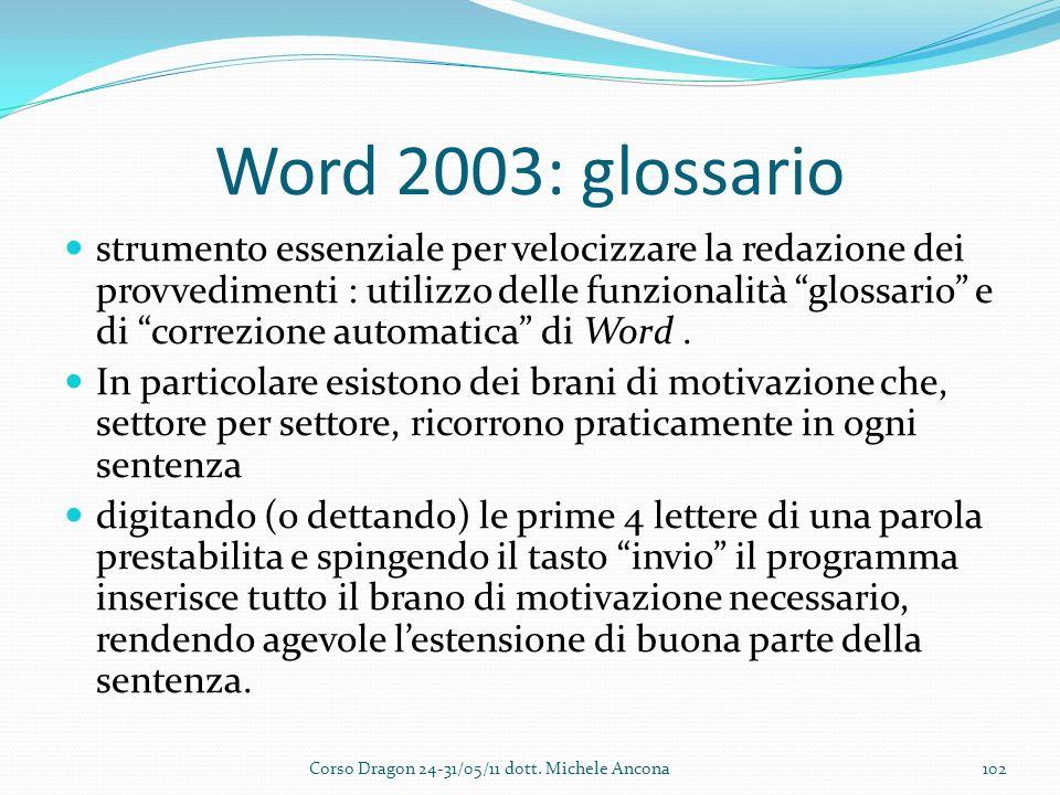 Word 2003: glossario strumento essenziale per velocizzare la redazione dei provvedimenti : utilizzo delle funzionalità glossario e di correzione automatica di Word.