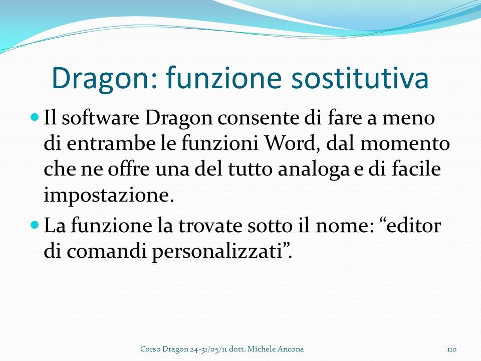 Dragon: funzione sostitutiva Il software Dragon consente di fare a meno di entrambe le funzioni Word, dal momento che ne offre una del tutto analoga e di facile impostazione.
