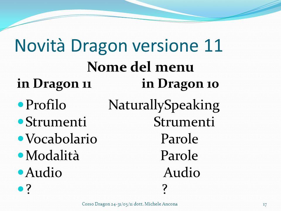 Novità Dragon versione 11 Nome del menu in Dragon 11 in Dragon 10 Profilo NaturallySpeaking Strumenti Strumenti Vocabolario Parole Modalità Parole Audio Audio .