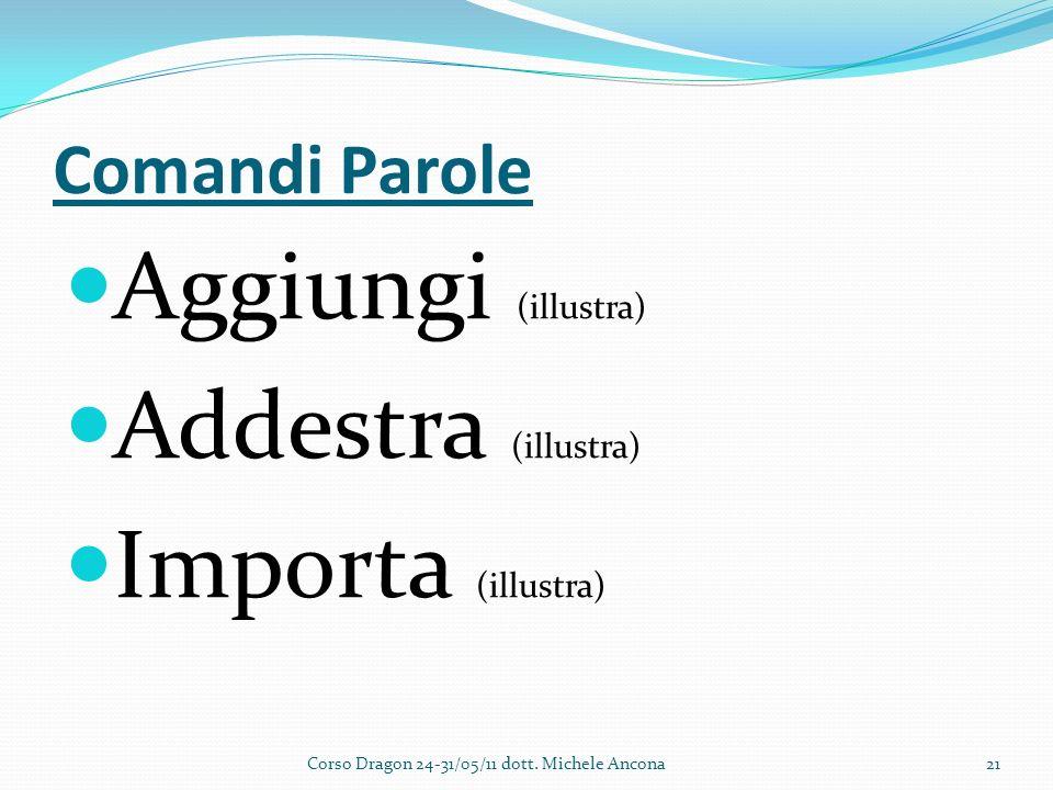 Comandi Parole Aggiungi (illustra) Addestra (illustra) Importa (illustra) Corso Dragon 24-31/05/11 dott.