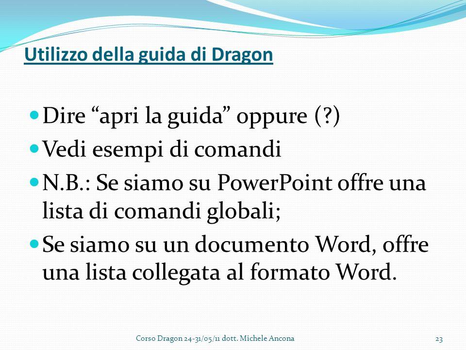 Utilizzo della guida di Dragon Dire apri la guida oppure ( ) Vedi esempi di comandi N.B.: Se siamo su PowerPoint offre una lista di comandi globali; Se siamo su un documento Word, offre una lista collegata al formato Word.