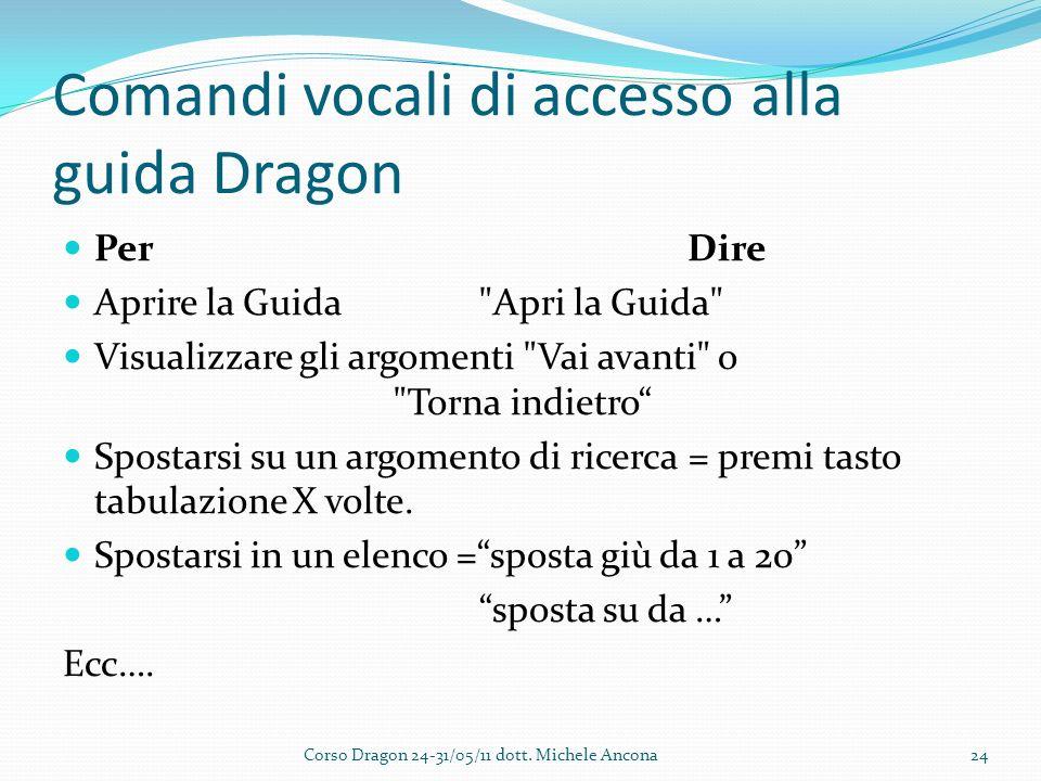 Comandi vocali di accesso alla guida Dragon PerDire Aprire la Guida Apri la Guida Visualizzare gli argomenti Vai avanti o Torna indietro Spostarsi su un argomento di ricerca = premi tasto tabulazione X volte.