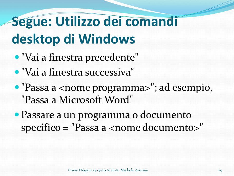 Segue: Utilizzo dei comandi desktop di Windows Vai a finestra precedente Vai a finestra successiva Passa a ; ad esempio, Passa a Microsoft Word Passare a un programma o documento specifico = Passa a Corso Dragon 24-31/05/11 dott.