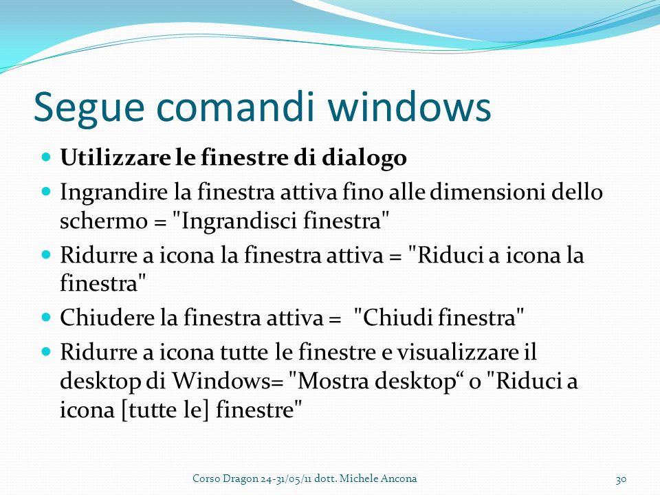 Segue comandi windows Utilizzare le finestre di dialogo Ingrandire la finestra attiva fino alle dimensioni dello schermo = Ingrandisci finestra Ridurre a icona la finestra attiva = Riduci a icona la finestra Chiudere la finestra attiva = Chiudi finestra Ridurre a icona tutte le finestre e visualizzare il desktop di Windows= Mostra desktop o Riduci a icona [tutte le] finestre Corso Dragon 24-31/05/11 dott.