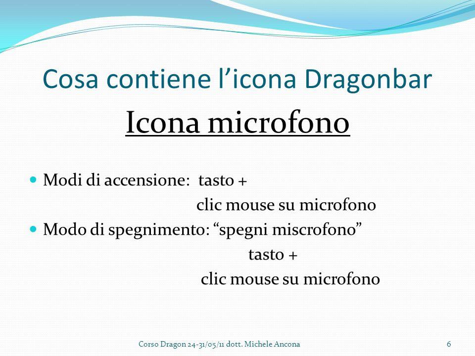 Cosa contiene licona Dragonbar Icona microfono Modi di accensione: tasto + clic mouse su microfono Modo di spegnimento: spegni miscrofono tasto + clic mouse su microfono Corso Dragon 24-31/05/11 dott.