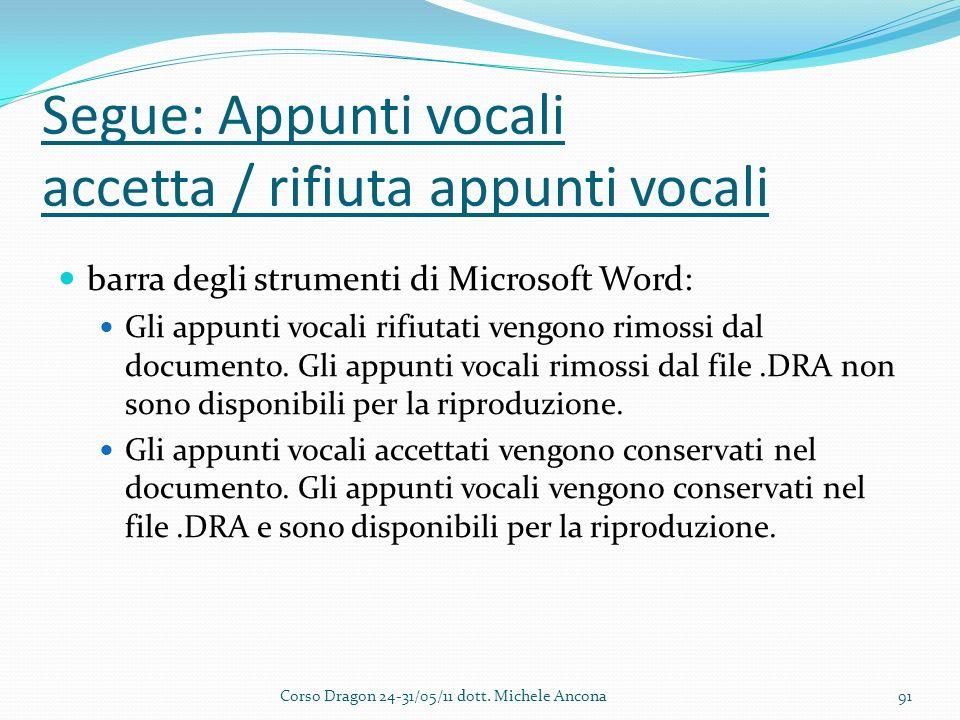 Segue: Appunti vocali accetta / rifiuta appunti vocali barra degli strumenti di Microsoft Word: Gli appunti vocali rifiutati vengono rimossi dal documento.