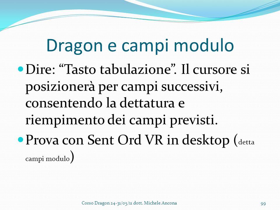 Dragon e campi modulo Dire: Tasto tabulazione.