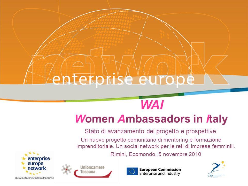 WAI Women Ambassadors in Italy Stato di avanzamento del progetto e prospettive.