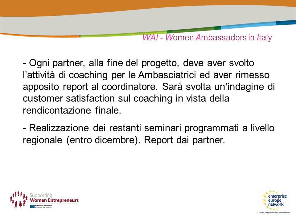 WAI - Women Ambassadors in Italy - Ogni partner, alla fine del progetto, deve aver svolto lattività di coaching per le Ambasciatrici ed aver rimesso apposito report al coordinatore.