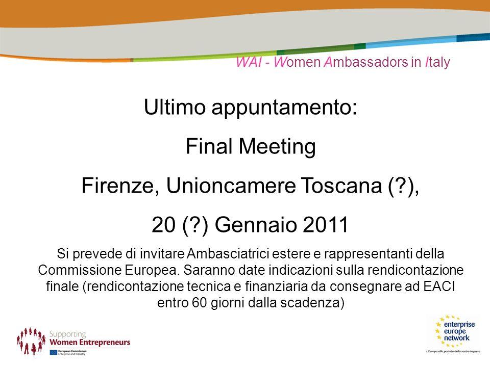 WAI - Women Ambassadors in Italy Ultimo appuntamento: Final Meeting Firenze, Unioncamere Toscana ( ), 20 ( ) Gennaio 2011 Si prevede di invitare Ambasciatrici estere e rappresentanti della Commissione Europea.