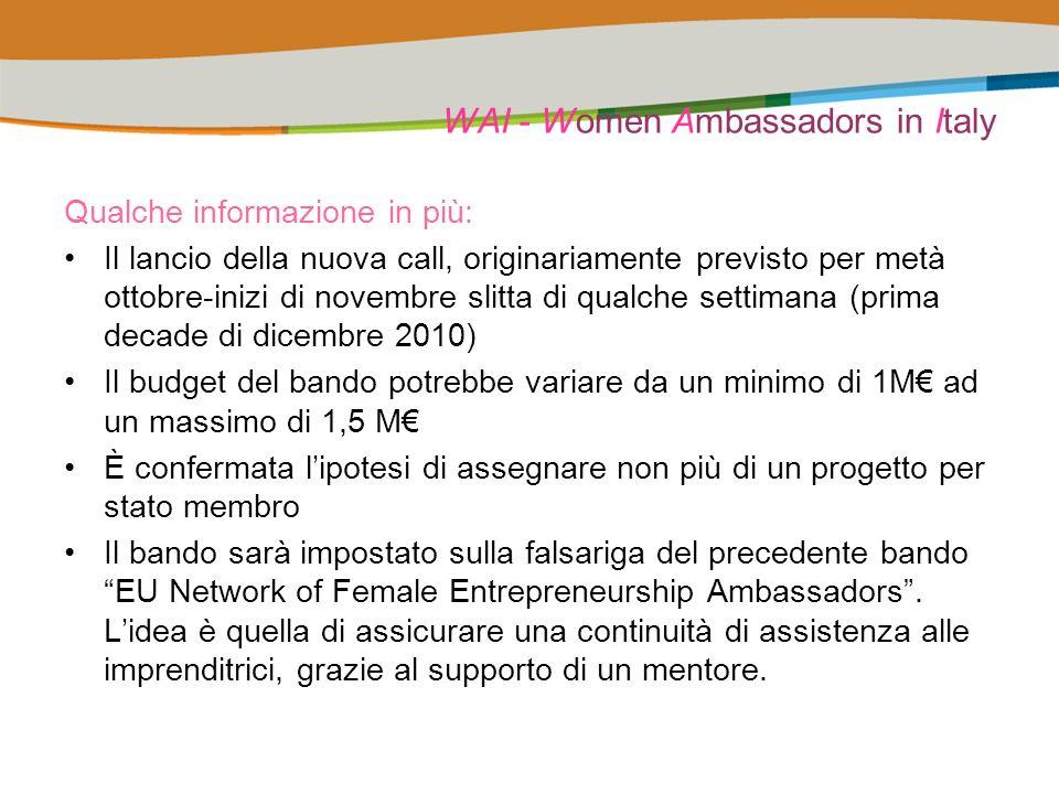 WAI - Women Ambassadors in Italy Qualche informazione in più: Il lancio della nuova call, originariamente previsto per metà ottobre-inizi di novembre slitta di qualche settimana (prima decade di dicembre 2010) Il budget del bando potrebbe variare da un minimo di 1M ad un massimo di 1,5 M È confermata lipotesi di assegnare non più di un progetto per stato membro Il bando sarà impostato sulla falsariga del precedente bando EU Network of Female Entrepreneurship Ambassadors.