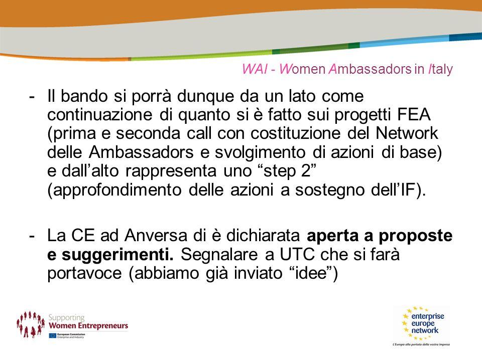 WAI - Women Ambassadors in Italy -Il bando si porrà dunque da un lato come continuazione di quanto si è fatto sui progetti FEA (prima e seconda call con costituzione del Network delle Ambassadors e svolgimento di azioni di base) e dallalto rappresenta uno step 2 (approfondimento delle azioni a sostegno dellIF).